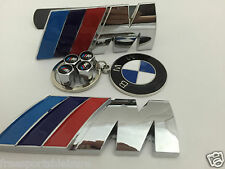 Front Grill Rear Boot Badge BMW M Sport chrome+ bmw keyring+M Power Valve Caps