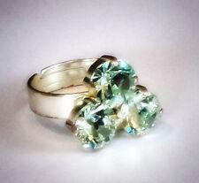 Swarovski crystal green chrysolite three stone ring