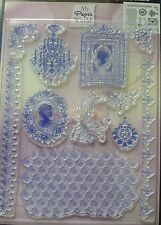 Viva Decor Clear Silicone Stamps Set - Cameo Image, chandelier, borders, frame