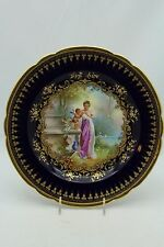 GORGEOUS DRESDEN HAND PAINTED RAISED GOLD CABINET PLATE-