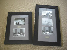 BA CONCORDE 5 B&W IMAGES MOUNTED & FRAMED WITH BA HIDUMINIUM ENGRAVED METAL COA