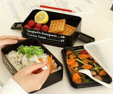 Black 3 Layers Lunch Box Microwave Bento Box Japanese Style Container US