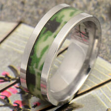 Womens Mens Gold Filled Rings Green Lampwork Stainless steel rings Size 10