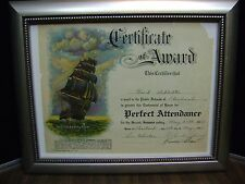 ANTIQUE - CERTIFICATE OF AWARD  - 1938 - CLEVELAND, OHIO PERFECT ATTENDANCE
