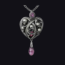 ALCHEMY GOTHIC KEEPERS OF THE TYRIAN. HEART-SHAPED PURPLE CRYSTAL PENDANT.