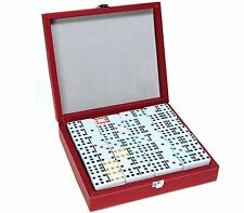 Dominoes Double 12 Professional Size Color Dot With Black & Red Leatherette Case