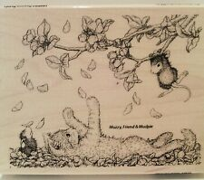 "New! Stampendous House-Mouse ""Pawing Petals"" WM Rubber Stamp"