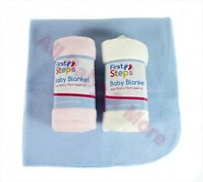 2 x  Baby Fleece Blankets for Pram Mose Basket, Crib. 1 Pink &1 Ivory Only £3.99