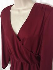 0217088 ANN TAYLOR Blouse S Red Wrap Style V Neck Long Sleeve Peplum Waist Top