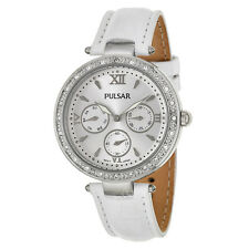 PULSAR PP6115 WOMENS DRESS CRYSTAL/BEZEL SILVER DIAL CALENDAR WHITE LEATHER BAND