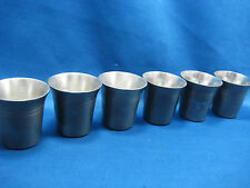 Lot of 6  Antique  German Solid Heavy Pewter Shooters/Cups/Containers Engraved