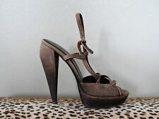 BURBERRY Brown Ombre Leather & Canvas Strappy Heels Shoes Sz 40 US 10 EUC $575