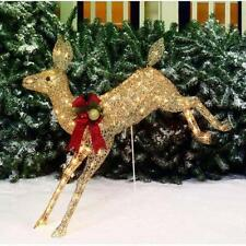 "42"" Shimmering Running Doe Lighted Reindeer Outdoor Christmas Decor Yard Art"