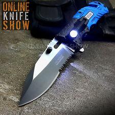 BLUE TACTICAL POLICE LED LIGHT Spring Assisted Open Knife Folding Pocket Blade