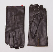 NWT $595 BRIONI Suede-Lined Brown Nappa Calf Leather Gloves 8.5 (M) + Box