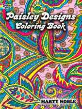 Paisley Designs Coloring Book Art Relaxation Adult Stress Relieving Patterns NEW