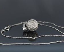 18K White Gold Round Pave Diamond Ball Pendant Enchancer 18'' Necklace Chain