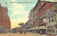 Worcester MA Main Street Store Fronts Old Cars Trolley in 1917 Postcard