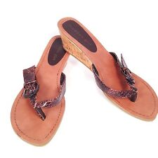 MADDEN GIRL WALLIE Brown Croc Buckle Sandals Low Wedge Heel Slide Flip Flop 8.5M