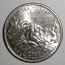 2002 US Quarter, 25 cents, Mississippi, Two Magnolia blossoms coin