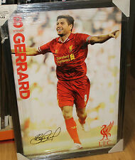STEVEN GERRARD UNSIGNED LIVERPOOL POSTER FRAMED - BRAND NEW 600MM X 900MM