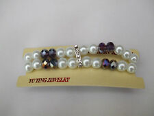 Bridal White Pearl Double Row Bracelet  With 8 Irridescent Beads In New