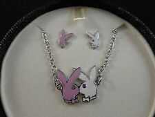 Playboy Bunny Necklace & Earring Set (RHD & Swarovski)in Exclusive Jewellery Box