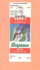 Buffalo Bills  Miami Dolphins 1987 ticket stub David Frye photo Dan Marino Topps