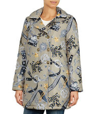 LOVE MOSCHINO TAUPE POLICE ACCESSORIES PRINT PADDED JACKET/COAT SIZE UK 8-10