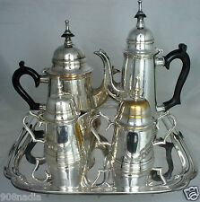 VINTAGE SILVER PLATE TEA/COFFEE SET MIDDLE EASTERN STYLE POTS,CREAMER,SUGAR,TRAY