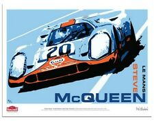 McQueen Drives Porsche 917 #20 Le Mans Art Poster by Hunziker SIGNED by REDMAN