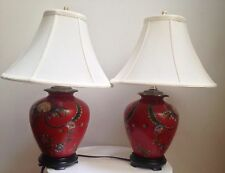 red metal like hand painted floral oriental asian table lamp  silk lampshade
