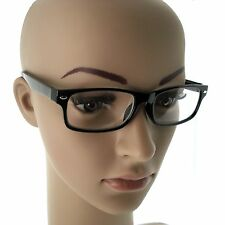 Clear lens glasses frames optical nerd hipster fake new men women unisex Black