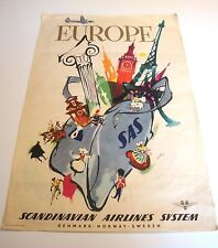 "SAS SCANDINAVIAN AIRLINES SYSTEM ORIGINAL POSTER ""Europe"" 1950's Otto Nielson"