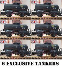6 YES SIX G SCALE 45mm GAUGE BLACK OIL TANKER CARGO TANK ROLLING RAILWAY TRAIN