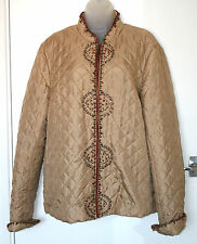SILKLAND 1X UK18-20 EU46-48 LIGHT GOLD SILK QUILTED JACKET WITH BEADS