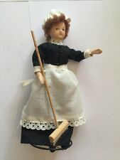 Doll's House Scullery Maid Doll With Broom, On A Stand