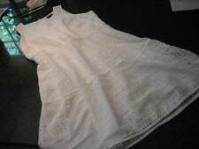NWT - Ladie GAP White Eyelet Fit and Flare Lined Cotton Dress (Size 12)