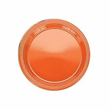 20 assiettes plates en plastique orange Ø 17.8 cm 0933 decoration de table fetes