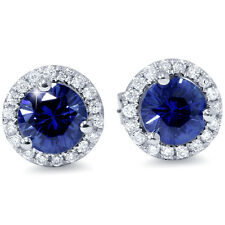 1 Carat Simulated Blue Sapphire Real Diamond Halo Studs Earrings 14K White