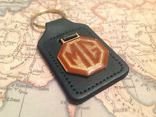 MG KEYRING BADGE MGB MGC MGA TC TF MIDGET ROADSTER MGF REAL GREEN LEATHER