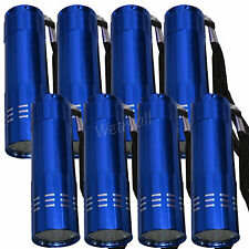 LOT OF 10 BLUE MINI POCKET 9-LED FLASHLIGHT Superbright Torch CAMPING Emergency