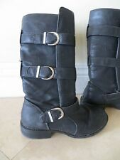 Wild Diva Buckle Pull Up Riding Boots Black Women's 6
