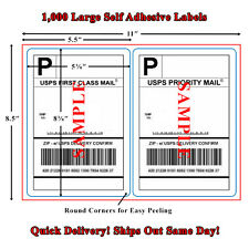 1000 Premium Round Corner Shipping Labels for Laser Printers, 2 Per Sheet 8.5x11