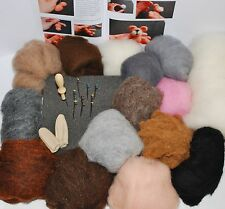 Carded Merino Needle felting kit 150g natural Merino colours + core wool