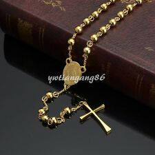 Bright Rosary Chain Men Women Gold Tone Stainless Steel Simple Cross Necklace