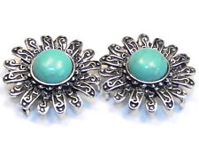 2 - 2 HOLE SLIDER BEADS WESTERN FLOWER CONCHO FAUX TURQUOISE STONE CABOCHONS