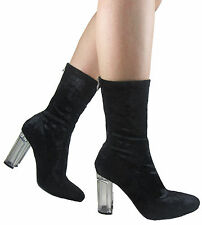 NEW LADIES WOMEN CRUSHED VELVET PERSPEX HEEL OVER THE ANKLE SHOE BOOT SIZE 3 - 8