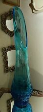 GORGEOUS ANTIQUE BLUE ART GLASS SWUNG VASE DIAMOND PATTERN TALL STRETCH