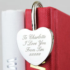 PERSONALISED ENGRAVED HEART BOOKMARK Birthday Christmas Valentines gift idea